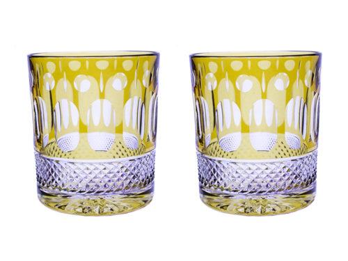 Royal Scot Crystal Belgravia Gold Amber Tumblers