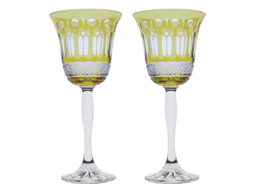 Royal Scot Crystal Belgravia Gold Amber Wine Glasses
