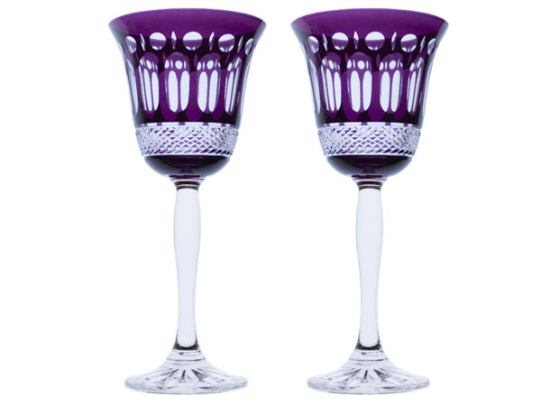 Royal Scot Crystal Belgravia Mulberry Purple Wine Glasses