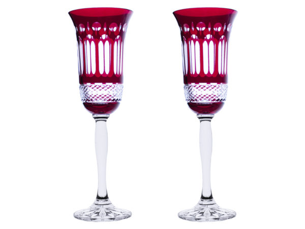 Royal Scot Crystal Belgravia Ruby Red Champagne Flutes