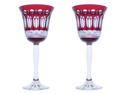 Royal Scot Crystal Belgravia Ruby Red Wine Glasses