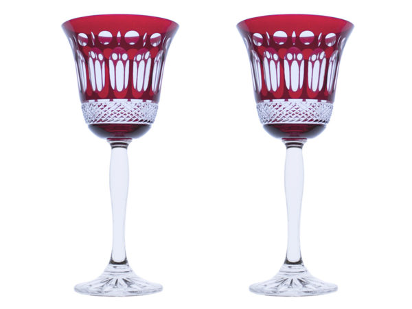 Royal Scot Crystal Belgravia Ruby Red Wine Glasses