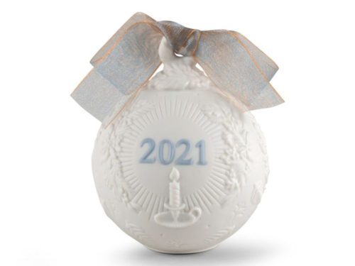 lladro 2021 collectible christmas bauble in white and blue