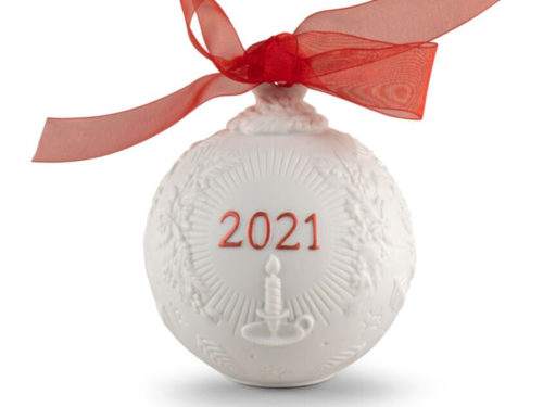 lladro christmas collectible 2021 bauble in white and red