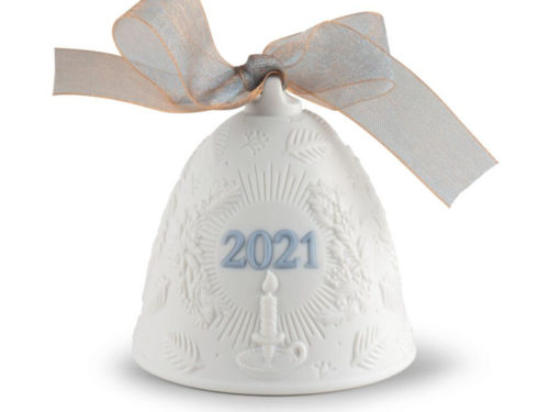 lladro 2021 christmas collectible bell in white and blue