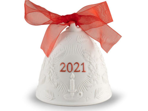 lladro 2021 christmas collectible bell in white and red