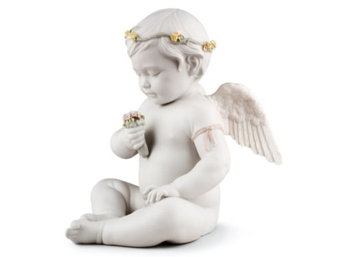 lladro porcelain celestial angel figurine holding flowers