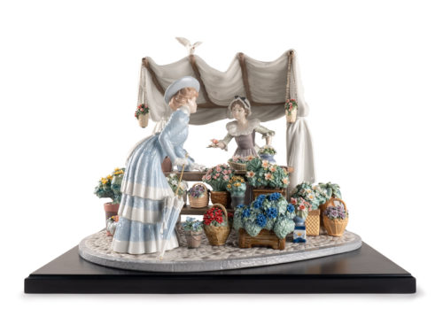 Lladro porcelain figurine of a french flower market