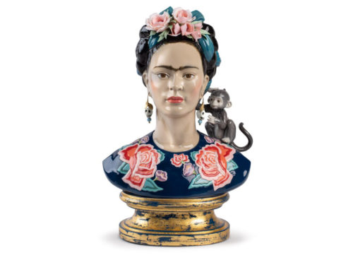Lladro Frida Kahlo sculpture in colour with a monkey on her shoulder