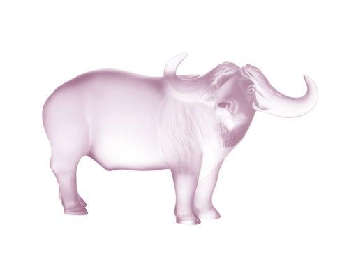Lalique pink crystal ox / bison