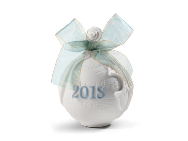 lladro christmas collectible 2018 bauble in white and blue