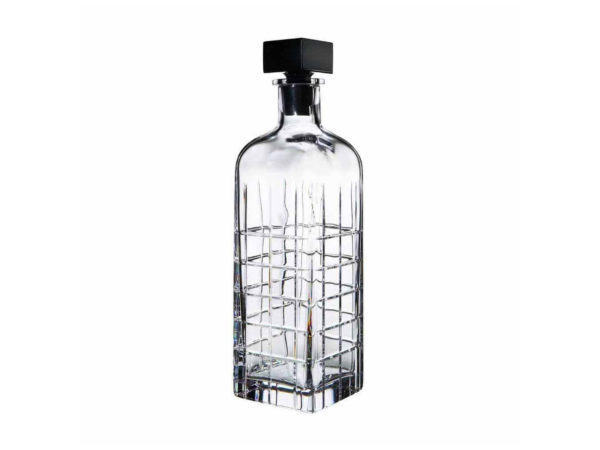 Orrefors Crystal Streets Decanter with black stopper