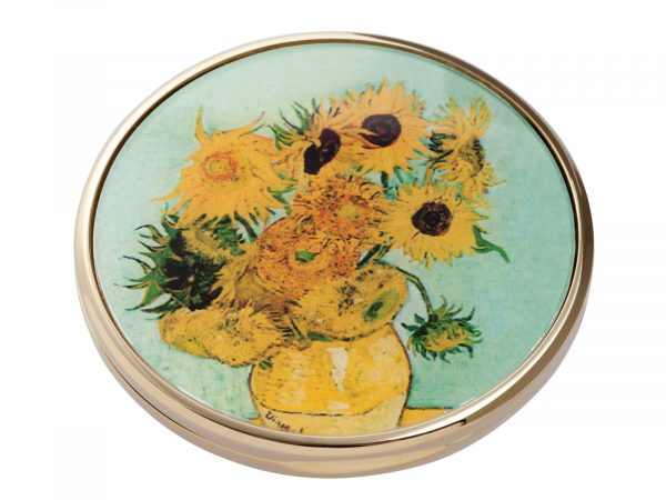 "This beautifully crafted pocket mirror made by John Beswick comes with a stunning extract from Vincent Van Gogh's ""Sunflowers"" painted in 1888. Vincent Van Gogh's Sunflowers is made of two separate paintings, one painted in 1987 was of sunflowers laid on the ground, the second a year later in 1988 with sunflowers in a vase. Size: Diameter: 7 cm - 3"". By John Beswick. Product Code: M07GO(G)"